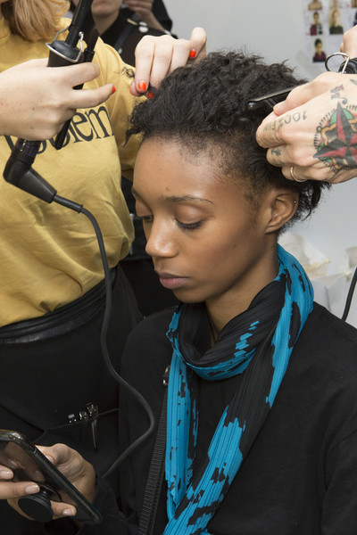 Issey Miyake at Paris Spring 2019 (Backstage) [hair,hairstyle,black hair,forehead,fashion,buzz cut,cornrows,long hair,dreadlocks,hairdresser,issey miyake,socialite,fashion,hairstyle,hair,spring,hair coloring,flat,paris fashion week,fashion show,fashion,issey miyake,fashion show,ready-to-wear,spring,hair coloring,summer,hairstyle,socialite,flat]
