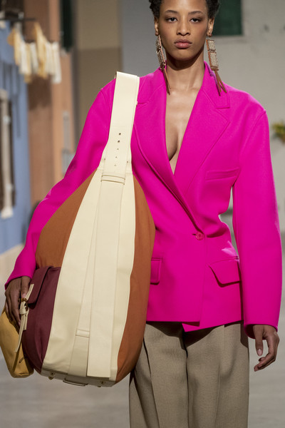 Jacquemus at Paris Fall 2019 (Details) [autumn,pink,clothing,fashion,fashion design,magenta,outerwear,formal wear,blazer,shoulder,suit,outerwear,fashion,jacquemus,street fashion,fashion week,fashion design,paris fashion week,fashion show,new york fashion week,paris fashion week,fashion week,new york fashion week,fashion,autumn,jacquemus,handbag,fashion show,street fashion,model]