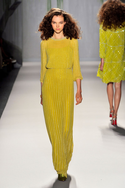 Jenny Packham at New York Spring 2014 [fashion model,fashion show,fashion,runway,clothing,yellow,shoulder,dress,haute couture,neck,dress,dress,gown,jenny packham,fashion,clothing,yellow,color,runway,new york fashion week,jenny packham,yellow,dress,ready-to-wear,fashion,clothing,color,the dress,gown]