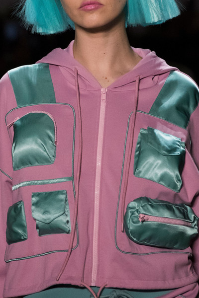 Jeremy Scott at New York Fall 2018 (Details) [clothing,jacket,pink,green,outerwear,sleeve,leather jacket,textile,magenta,hoodie,leather jacket,hoodie,textile,fashion,jacket,model,clothing,sleeve,hoodie - m,new york fashion week,hoodie - m,textile,model,hoodie,fashion]