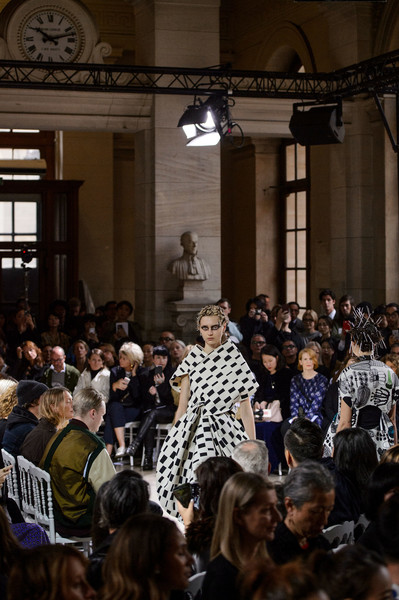 Junya Watanabe at Paris Spring 2018 [people,crowd,audience,fashion,event,architecture,fashion design,fashion show,crowd,people,audience,junya watanabe,fashion,fashion design,architecture,paris fashion week,event,fashion show,fashion,crowd,event]