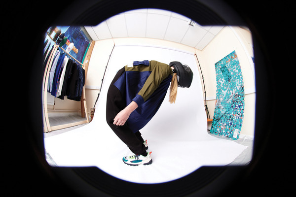 L.Y.P.H. at London Fall 2021 [flash photography,camera lens,flash photography,fixture,stairs,sleeve,circle,electric blue,space,elbow,font,walking shoe,fisheye lens,product,product design,design,physics,science,lyph,london fashion week,fisheye lens,product design,design,lens,product,camera lens]