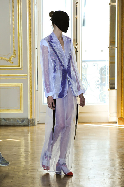 Maison Martin Margiela at Couture Fall 2011 [clothing,fashion,suit,purple,formal wear,outerwear,fashion design,haute couture,blazer,costume,outerwear,socialite,couture fall,fashion,maison martin margiela,haute couture,model,runway,clothing,fashion show,fashion,haute couture,fashion show,runway,maison margiela,livingly,model,socialite]
