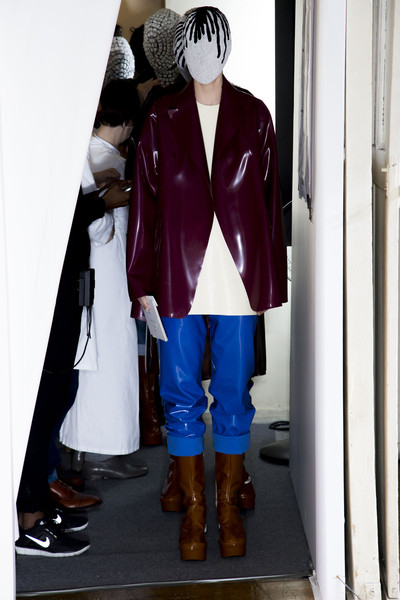 Maison Martin Margiela at Couture Fall 2013 (Backstage) [clothing,action figure,outerwear,toy,footwear,costume,anime,jacket,fictional character,shoe,outerwear,toy,shoe,maison martin margiela,character,couture fall,clothing,action figure,purple,jacket,outerwear,purple]
