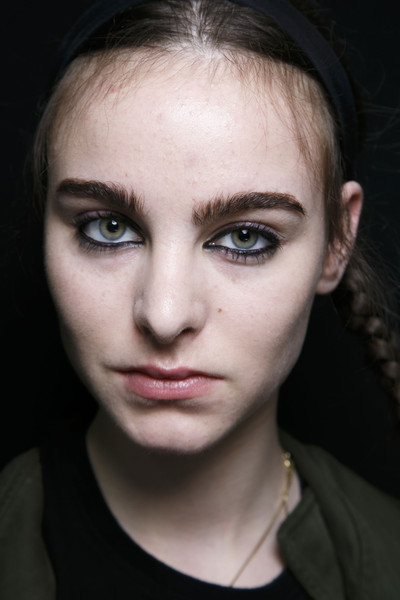 Marc by Marc Jacobs at New York Fall 2014 (Backstage) [portrait,face,hair,eyebrow,lip,cheek,nose,forehead,beauty,skin,chin,marc by marc jacobs,forehead,eye liner,lips,lip,nose,hairflick,new york fashion week,close-up,portrait,eye liner,forehead,hairflick,lips,close-up,ball gown]