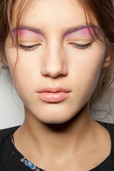 Peter Som at New York Spring 2013 (Backstage) [face,hair,eyebrow,cheek,lip,chin,skin,nose,beauty,forehead,peter som,beauty,face,fashion,makeup,pink,color,eye shadow,eye liner,new york fashion week,beauty,eye shadow,facial makeup,fashion,pink,color,eye liner,face,purple]