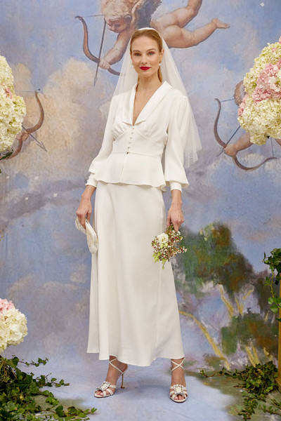 Rixo at London Fall 2021 [clothing,outerwear,white,plant,people in nature,textile,fashion,sleeve,standing,waist,wedding dress,dress,bride,fashion,clothing,fashion,haute couture,rixo,london fashion week,wedding,wedding dress,fashion,dress,rixo,gown,clothing,bride,haute couture,wedding,contemporary fashion]