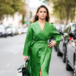 Green Leather Wrap Coat