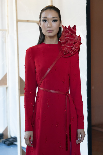 Stéphane Rolland at Couture Fall 2019 (Backstage) [clothing,red,fashion model,fashion,overcoat,dress,pink,outerwear,coat,maroon,gown,couture fall,fashion,haute couture,street fashion,model,runway,spring,clothing,fashion show,haute couture,fashion,street fashion,model,fashion show,runway,spring,autumn,livingly,gown]