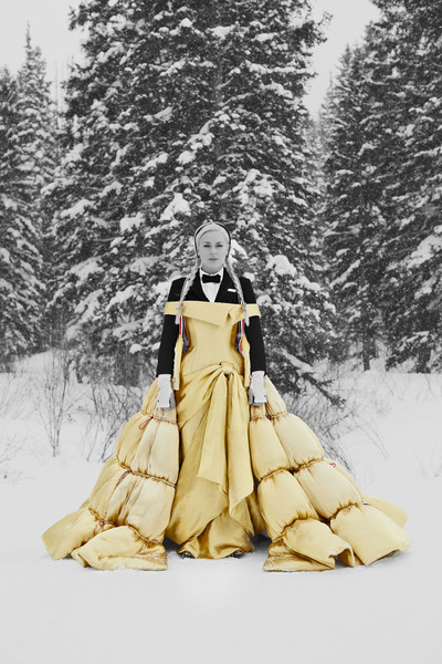 Thom Browne at Paris Fall 2021 [tree,plant,sleeve,people in nature,snow,knee,slope,wood,art,fashion design,dress,thom browne,tree,snow,clothing,chemistry,science,sleeve,plant,paris fashion week,freezing,winter,snow,dress,clothing,tree]