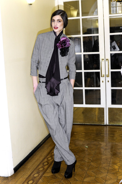 Unconditional at London Fall 2008 (Backstage) [clothing,suit,fashion,purple,formal wear,outerwear,blazer,footwear,pantsuit,fashion design,outerwear,socialite,fashion,model,purple,haute couture,clothing,suit,unconditional,london fashion week,model,socialite,haute couture,purple,fashion,tuxedo m.,tuxedo]