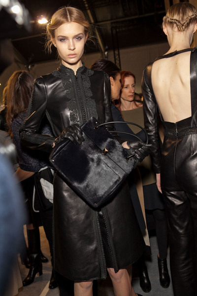 Valentino at Paris Fall 2012 (Backstage) [fashion,fashion model,latex clothing,haute couture,leather,dress,model,latex,fashion design,leather jacket,leather jacket,leather jacket,socialite,fashion,model,runway,haute couture,jacket,paris fashion week,fashion show,runway,fashion show,model,fashion,haute couture,supermodel,zado leather jacket,socialite,jacket,leather jacket]