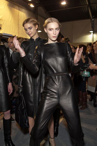 Valentino at Paris Fall 2012 (Backstage) [clothing,latex clothing,fashion,leather,outerwear,latex,haute couture,event,costume,leggings,supermodel,socialite,valentino,haute couture,fashion,clothing,model,runway,paris fashion week,fashion show,haute couture,fashion show,runway,model,fashion,supermodel,socialite]