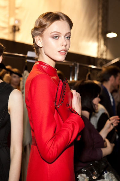 Valentino at Paris Fall 2012 (Backstage) [hair,red,fashion,beauty,hairstyle,blond,lip,model,haute couture,fashion model,valentino,supermodel,frida gustavsson,model,fashion,haute couture,hair,clothing,paris fashion week,fashion show,frida gustavsson,haute couture,valentino,fashion,supermodel,fashion show,paris fashion week,model,clothing]