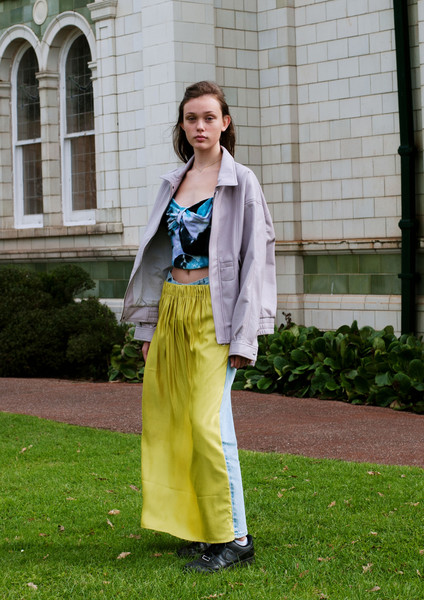 Vinti Andrews at London Spring 2021 [clothing,street fashion,green,yellow,fashion,outerwear,blazer,grass,jacket,photography,jeans,shoe,outerwear,vinti andrews,fashion,costume,yellow,dkny,london fashion week,fashion show,fashion,ready-to-wear,fashion show,vinti andrews,jeans,dkny,shoe,costume]