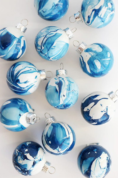 DIY Indigo Marbled Ornaments