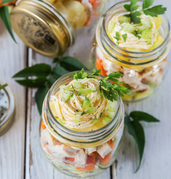 Pineapple, Chicken + Potato Salad in a Mason Jar