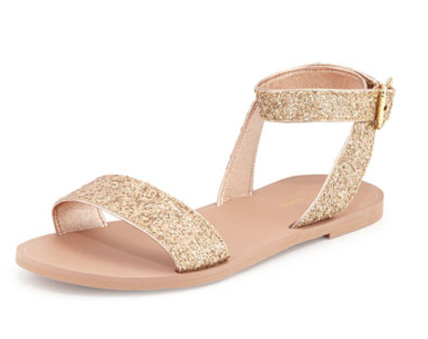 Rose gold ankle-wrap sandals - Sparkly