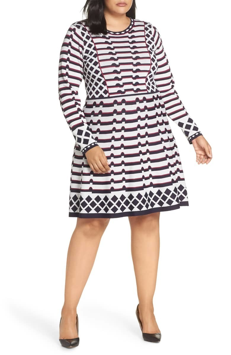 d2acf100a0 Eliza J Artwork Jacquard Sweater Dress · Long-Sleeve Plus Size Dresses We  Need This Season. Courtesy of Nordstrom