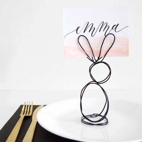 DIY Wire Bunny Place Card Holders