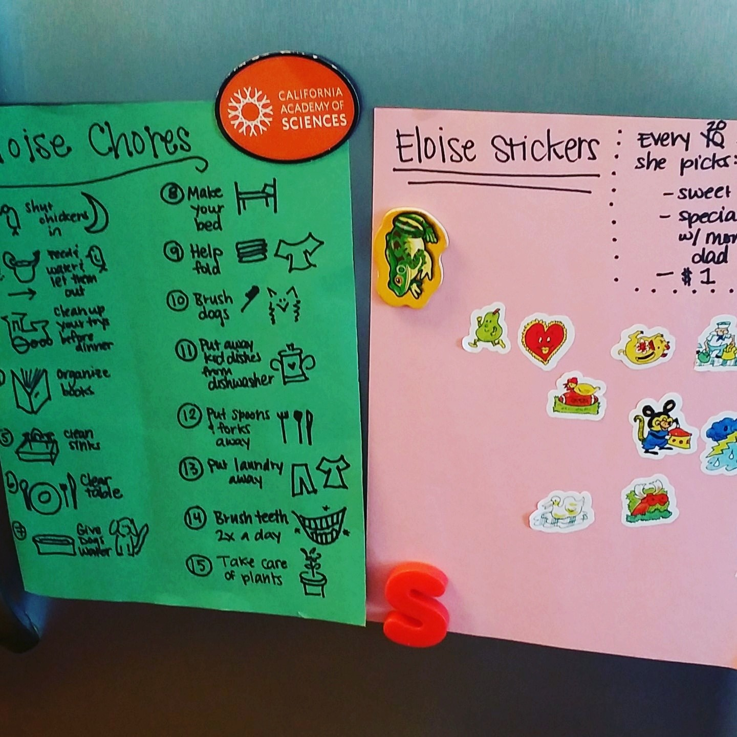 I also made my daughter a sticker chart. It turns out four-year-olds really can learn to do chores. Who knew?!