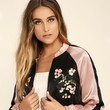 Lulus Chic Pink and Black Embroidered Satin Bomber Jacket