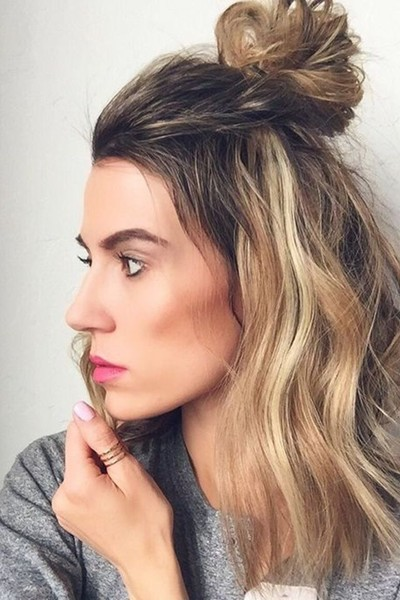 Try A Top Knot-Half Up, Half Down Look