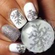 Silver and White Snowflake Manicure