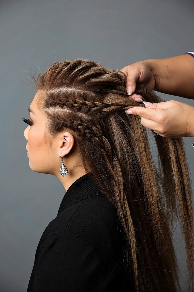 Try this... take 3 different French braids and combine them together.  Pinned from