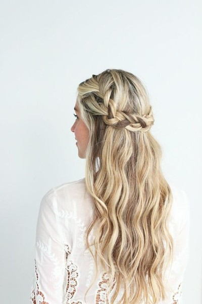 Low Braided Crown With Loose Beach Waves