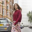 Patterned Skirt and Chunky Knit