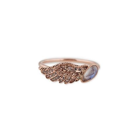 Moonstone Teardrop Wing Ring