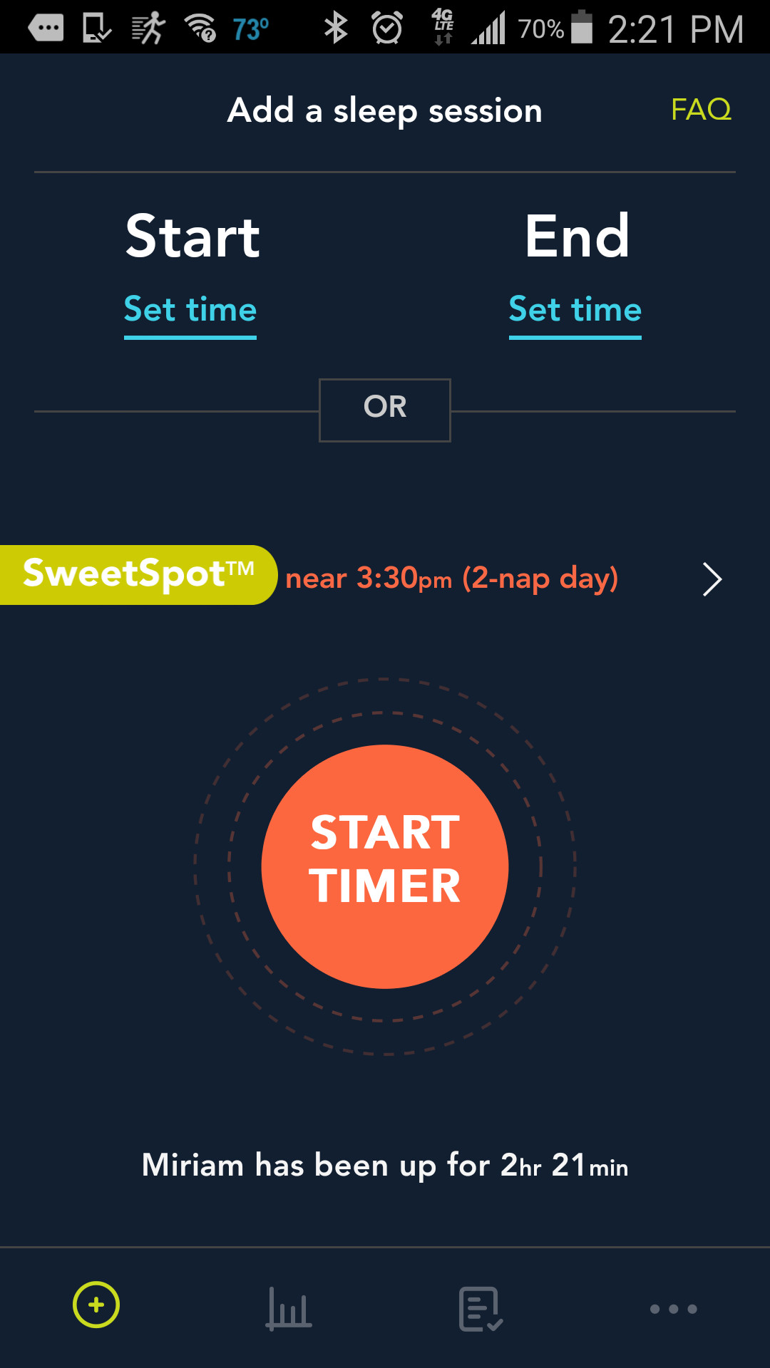 The SweetSpot feature tells you when your child will likely be ready to sleep based on age, time awake, and number of naps per day.