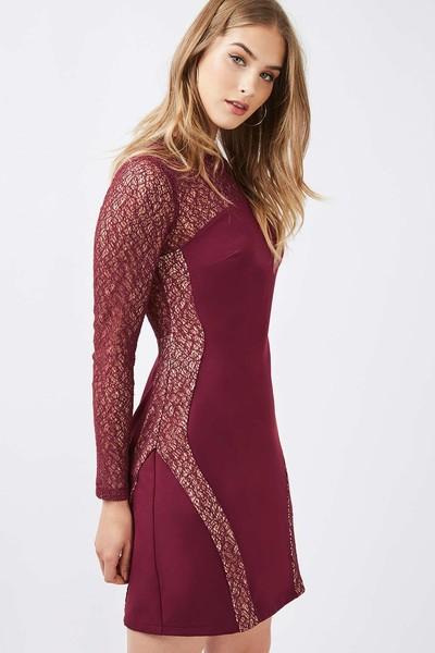 Aries: Topshop Long Sleeve Contour Lace Bodycon Dress