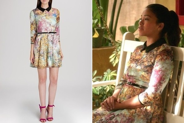 Gina Rodriguez's Printed Dress with Black Collar and Belt, and Silver Arrow Ring on 'Jane the Virgin'
