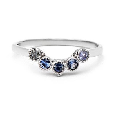 Curved Five Blue Sapphire Ring