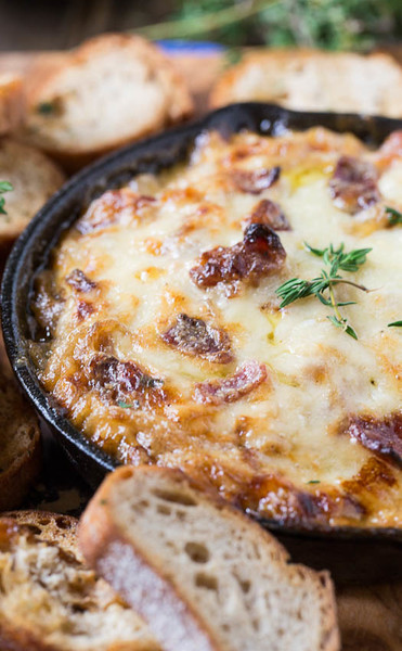 Hot Carmelized Onion Dip with Bacon and Gruyere