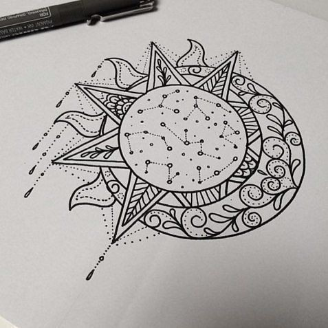 celestial sketch   stunning sun and moon tattoo ideas