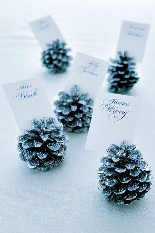 Snowy Pinecone Place Card Holders