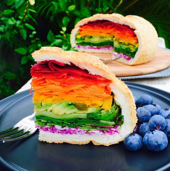 Rainbow Vegan Sandwich Magical Rainbow Foods Straight
