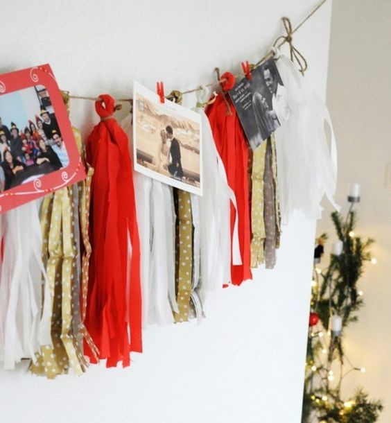 Christmas Card Garland Colorful Ways To Decorate Your