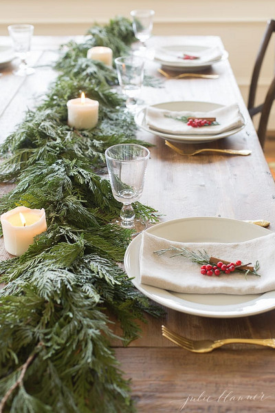 Red and Green Garland Table