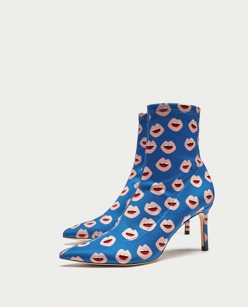 Mouth Print Heeled Booties