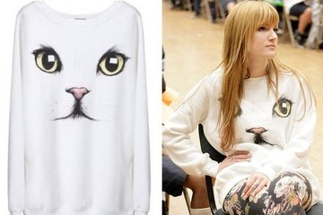 Get The Look - Bella Thorne's White Cat Face Sweatshirt