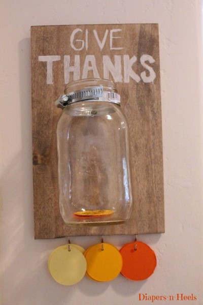 Mount a gratitude jar to the wall