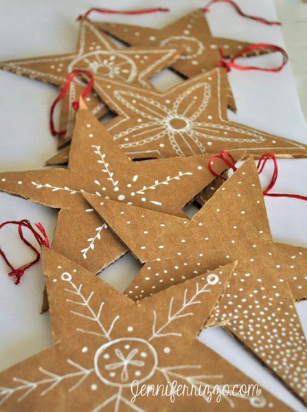 HandDrawn Recycled Cardboard Stars  Easy and Unique DIY
