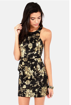 Rose and Cons Gold and Black Dress - The Prettiest Holiday Dresses ...