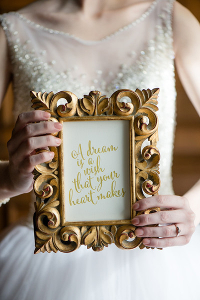 Cinderella Gold Framed Quote These Disney Wedding Details Will New Disney Wedding Quotes