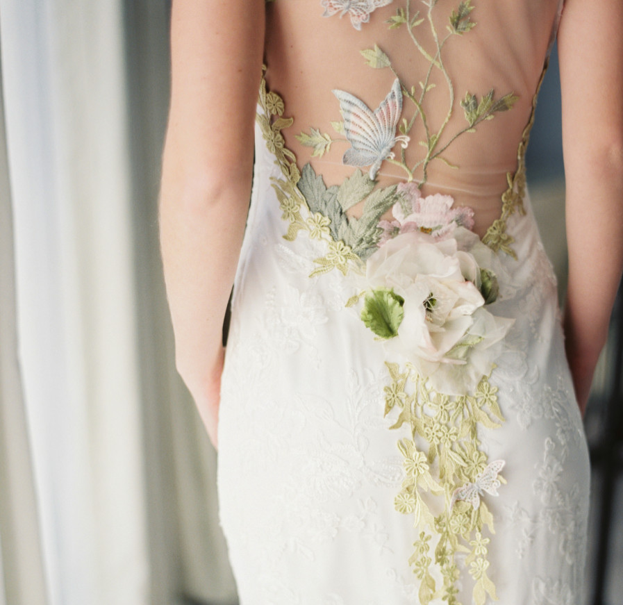 Claire pettibone embroidered floral gown the prettiest for Floral embroidered wedding dress