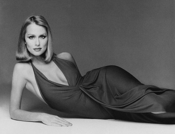 Lauren Hutton in a Draped Halston Design